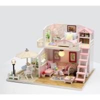 DIY MINIATURE DOLL HOUSE WOODEN / MINIATUR RUMAH BONEKA PINK LOFT