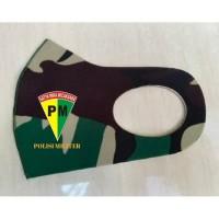 Masker Korea Bahan Kain Scuba Loreng TNI Malvinas Logo PM TNI AD