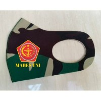 Masker Korea Bahan Kain Scuba Loreng TNI Malvinas Logo Mabes TNI