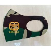 Masker Korea Bahan Kain Scuba Loreng TNI Malvinas Logo Kopassus