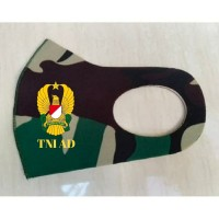 Masker Korea Bahan Kain Scuba Loreng TNI Malvinas Logo TNI AD