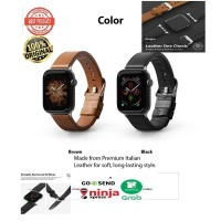 Strap Apple Watch 42mm / 44mm Seri 1 2 3 4 5 Rearth Ringke Leather - Cokelat