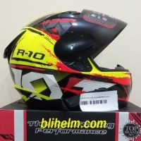 Jual helm KYT R10 -2 YELLOW FLUO BLACK RED FLUO Limited