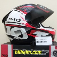 Jual helm KYT R10 -2 WHITE BLACK RED FLUO Limited