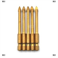 Set 5Pcs Mata Bor Drill Bit Tungsten Carbide Glass dengan Hex Shank