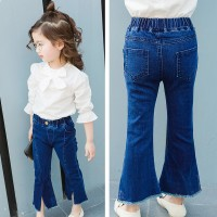 Children Girls Popular Horns Wild Trumpet Pants Wide leg Jeans