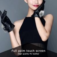 Gugur Sarung Tangan Wanita Bahan Kulit Hangat Tebal Touch Screen