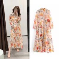 Gaun Print Bunga Lengan Panjang Wanita Baru / Maxi Dress