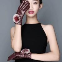 Sarung Tangan Wanita Bahan Kulit Hangat Tebal Touch Screen untuk