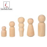 5Pcs Unfinished Wood Diy Art Craft Five People Wooden Peg Dolls Toys
