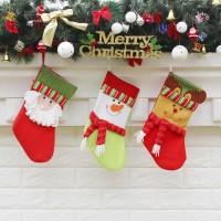 3Pcs / Pak Kaos Kaki Natal ukuran 15 x 32 x 19.5Cm untuk Hadiah Anak