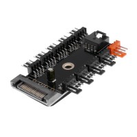 PC SATA Port Powered 11 Way 4pin Cooling Fan Power Cable Extender