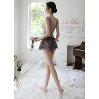 Set Lingerie Dress Mini Lace Hollow Seragam Cosplay Sexy+Syal (IMPOR)