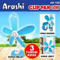 Kipas Angin 3 Fungsi Jepit Meja Dinding Arashi Clip Fan AR 138 30 Watt