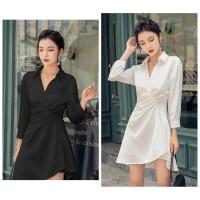 White Dress Korean Import Beachwear Wanita Dress Cocktail Polo Dress X