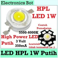LED HPL 1 W Watt Lampu Light Emitting Dioda 3V Putih White Terang Mini