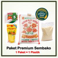 PAKET SEMBAKO PREMIUM KOMPLIT (Beras, Minyak Goreng, Indomie, Gula)