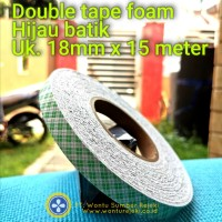 Double Tape foam hijau batik , 18mm x 15 Meter, utk timah balancing