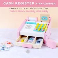 Cash Register Pink Cashier Wooden Toys Pretend Play Mainan Anak Kasir