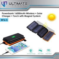 Ultimate Powerbank Solar + Wireless Charger + LED Torch 16000 w16-s