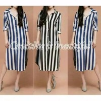 dress kemeja hem tunik mini baju wanita garis garis long shirt blouse