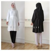 Tunik Wanita Hitam Putih Polos / Tunic Muslim / Top Blouse Cewek Ria