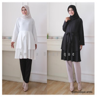 Tunik Wanita Hitam Putih Polos / Tunic Muslim / Blouse Cewek Tulip BW