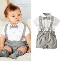 set setelan kemeja overall pendek formal anak bayi laki laki impor