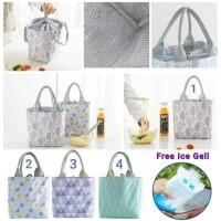 Lunch Bag Alumunium/ Cooler Bag/Tas Bekal Motif Tote Serut -