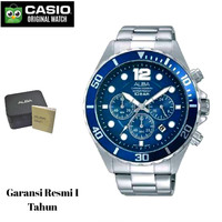 Jam Tangan Pria Sports Alba Blue Chronograph AT3911 AT3911X1 Original