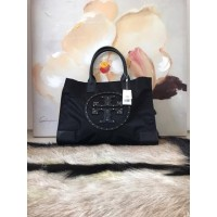 Tas Tory Burch Original Ella Stud Nylon Medium Black Tote Bag