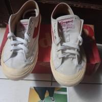 Sepatu Compass Gazelle (Canvas) White/Red Low