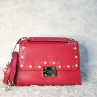 tas wanita karl lagerfeld corinne studded hermine top handle red ci
