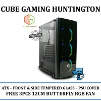 CASING PC CUBE GAMING HUNTINGTON - ATX - FRONT & SIDE TEMPERED GLASS