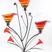 Tempat Lilin Dekor 3 Lilin - Candle Holder Lily Red