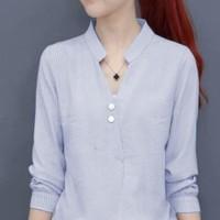 Sanghai Button Blue Ro Blouse Wanita Katun Strip Biru