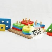 Mainan Edukasi Anak- Pasak Geometri 4 Bentuk