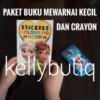 Paket Buku Anak Mewarnai Dan Sticker Set Crayon Mini Karakter Frozen