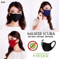 Masker scuba / masker kain scuba / bisa di cuci / masker / WARNA HITAM