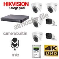 PAKET CCTV HIKVISION 6CH 5MP UHD BUILT IN MIC + HDD 1TB LENGKAP
