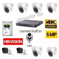 PAKET CCTV HIKVISION 8CH 5MP UHD BUILT IN MIC + HDD 2TB LENGKAP
