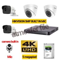 PAKET CCTV HIKVISION 4CH 5MP UHD BUILT IN MIC + HDD 1TB LENGKAP