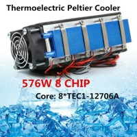Peltier Thermoelectric Cooler Refrigeration Cooling Fan 12V 576W 8chip