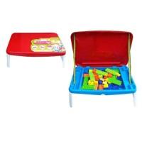 Mainan anak laki perempuan: mainan edukasi block lego meja belajar