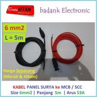 Sepasang Kabel 6 mm2 dari MC4 Panel Surya ke MCB / SCC L = 5 meter