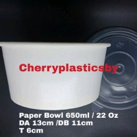 paper bowl atau mangkuk kertas 650ml 22oz plus tutup accessories