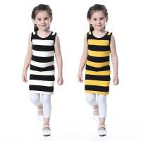 Summer Kids Sleeveless Dress Children Cute Girls Neck Baby Package
