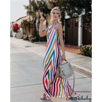 DSI-Women Boho Stripe Long Maxi Dress Cocktail Party Evening Summer