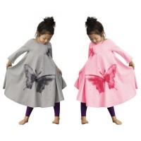 Autumn Cute Baby Girls Butterfly Print Dress Cotton Kids Long Sleeve