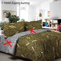 Bedcover Set Sprei Katun Catra Motif Zig Zag Kuning Uk 200x200x35